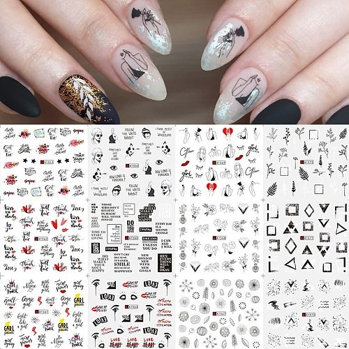 12pcs Black Flower Nail Sticker Russian Letter Transfer Water Slider Sexy Girl Leaf Nail Wraps Manicure Decoration SAA1561-1572