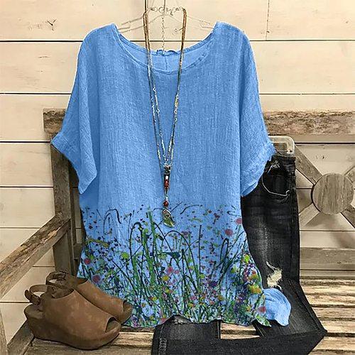Vintage Women Blouse 2021 O-neck Blouses Women Shirts Summer Floral Print 3xl Plus Size Tops Ladies Tunic Блузка Женская