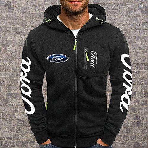 2020NEW Men's Hoodies Ford Mustang Car Logo Print Casual HipHop  Black Hooded Fleece Sweatshirts Zipper Jacket Men Tops
