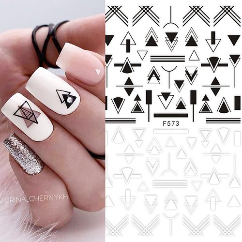 1 Sheet Geometric 3D Nail Sticker Black Lines Flowers Animals Leaves Heart Image Nail Art Decorations Slider For Nail
