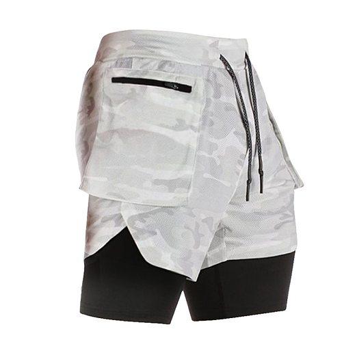 Phone-Pocket Running Shorts Men 2 In 1 2020 Gym Shorts Men Camouflage Sport Fitness Shorts Workout Training Tennis Short Pants