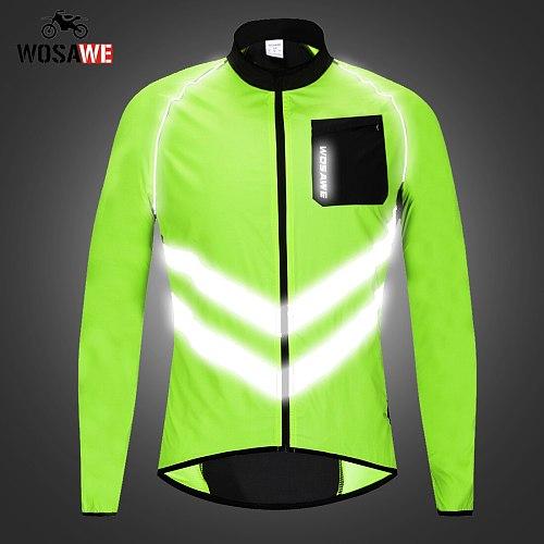 WOSAWE Reflective Safety Jackets Men Windproof Waterproof Moto Rider Long Sleeve coat jacket Motorcycle Clothing