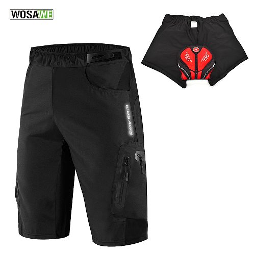 WOSAWE Black Cycling Shorts With Non-Remove Gel Pad Cycling Underwear MBT Bike Downhill Shorts Loose Outdoor Bicycle Shorts