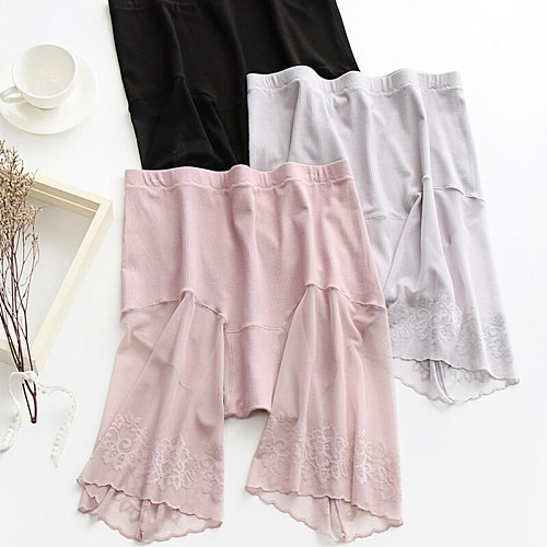 Plus Size Shorts Under Skirt Sexy Lace Anti Chafing Thigh Safety Shorts Ladies Pants Underwear Large Size Safety Pants Women