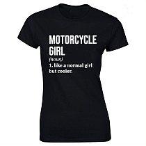 Motorcycle Girl Print Cotton Casual  Tshirt Women Funny T Shirt for Lady Streetwear Regular Top Tee