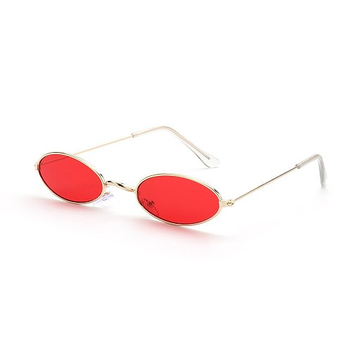 2021 Retro Small Oval Sunglasses Women Vintage Shades Black Red Metal Color Sun Glasses For Female Fashion Designer