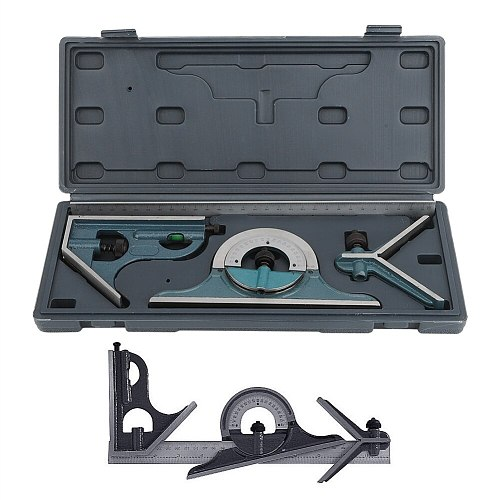 Angle Measuring Tool Stainless Steel Ruler 180 Degree Combination Ruler Internal External Angle Measurement Tool