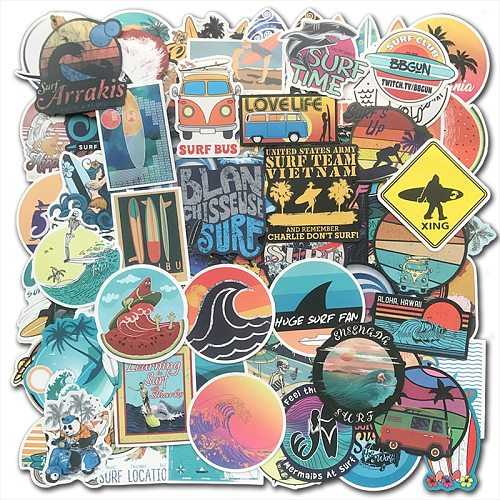 100PCS Cool Summer Beach Surf Stickers Surfboard Sticker Bomb For Suitcase Phone Laptop Luggage Tablet Water Bottle Decals Pack