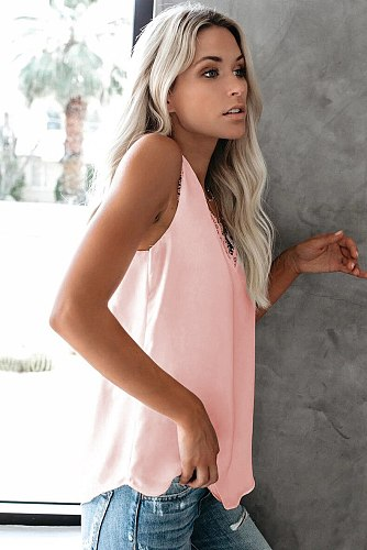 2020 Summer Women Fashion Tank Tops V-Neck Sleeveless Casual Lace Tops Plus Size Ladies Clothes Bottoming Vest Shirt Sexy Tops