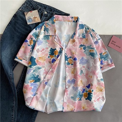 EBAIHUI Flower Tie Dye Blouse Women's Shirts Men Hawaiian Camicias Casual One Button Shirts Printed Short-sleeve Blouses Tops