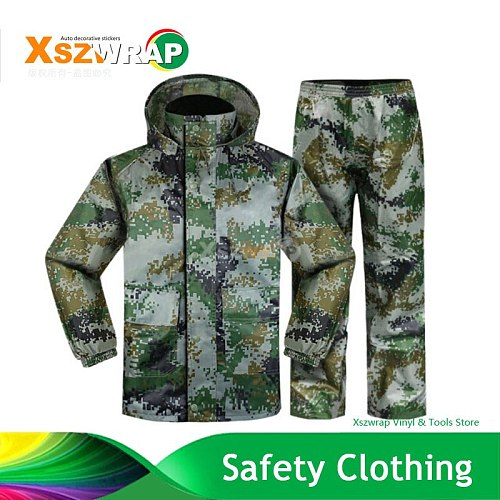 Army Style Raincoat Camouflage Reflective Outdoor Work Rain Coat Motorcycle Raincoat With Cap, Rain Gear Heavy Raincoats 4XL