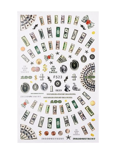 US dollar banknote adhesive nail sticker decals nail art decorations stickers money manicure fake nails accessoires F523