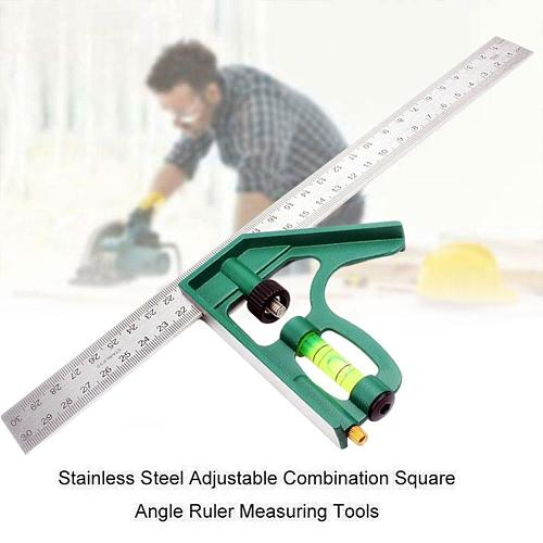 12''Adjustable Protractor Angle Ruler Combination Square Ruler Steel Bubble Level 300MM Carpenter Measure Tool