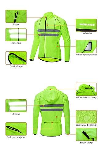 WOSAWE Cycling Jackets High Visibility Waterproof Windbreaker Sports Clothes Reflective Rain Resistance Motocross Coat Unisex