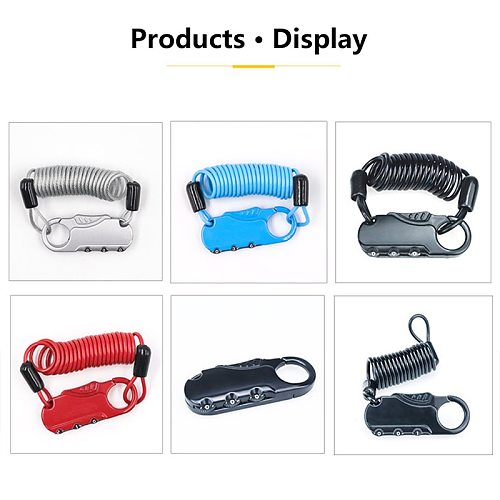 Car Alarm Mini Bike Lock Fold Backpack Cycling Helmet Bicycle Cable Lock 3 Digit Combination Anti-theft Motorcycle Bicycle Lock