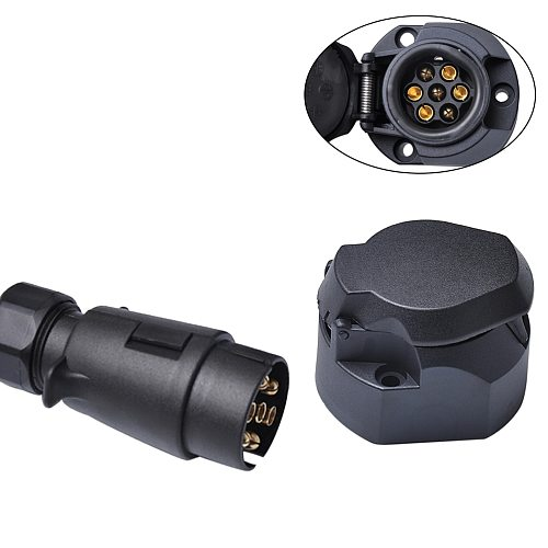 12V 7 Pin Car Trailer Socket + Plug Tow Bar Electrics Waterproof Cable Connector Adapter For RV Truck European Type Trailer
