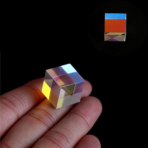 Cube Prism Defective Cross Dichroic Mirror Combiner Splitter Decor Transparent Module Optical Glass Class Toy