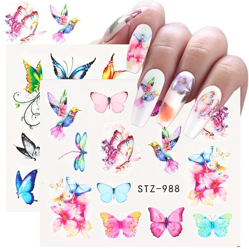 1 Sheet Sliders for Nails Blue Flower Butterfly Stickers Nail Art Design Water Decals Foil Manicure Polish Wraps NFSTZ970-993-1