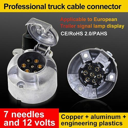 2020 Best Sale 12V 7 Pin Round Aluminum Trailer Socket Waterproof 7-Pin Socket Trailer Towbar Connector For Trailer Light Lamp