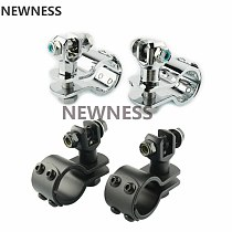 Universal 1-1/4  Motorcycle Engine Guard Highway Footrest Foot Pegs Mount Clamps For Harley Cafe Racer Honda Kawasaki Suzuki