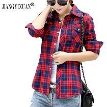 Jiangyixuan Casual Button Down Lapel Neck Plaids Checks Flannel Shirts Women Long Sleeve Tops Blouse Free Shipping Plus Size