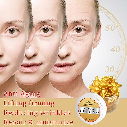 30Pcs/Bottle Hyaluronic Acid Capsules Serum Spot Acne Remover Anti-Wrinkle Whitening Cream Moisturizing Face Essence Skin Care