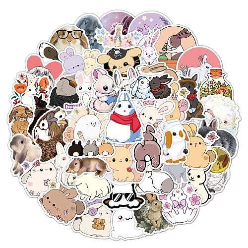 50pcs Cute Rabbit Animal Stickers For Girls Kawaii Cartoons Bunny Hare Decal Sticker To DIY Stationery Water Bottle Phone Guitar