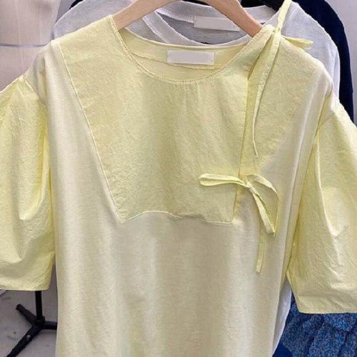 Nomikuma Causal O-neck Bow Tie Women Top Korean Puff Sleeve 2021 Summer New Blusas Femme Sweet Blouse Shirt Ladies Tops 6J542