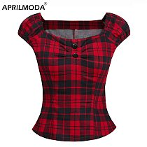 Summer Women Vintage 50s Inspired Gingham Pinup Couture Peasant Top In Red Plus Size Tops Rockabilly Retro Blouses