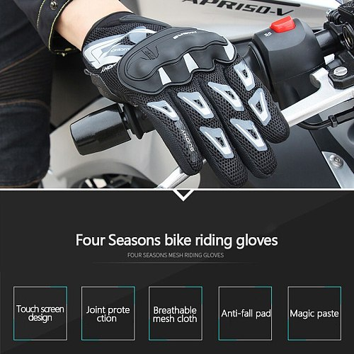Motorcycle Gloves Thin Mesh Breathable Unisex Riding Finger Protection Gloves Motocross Protective Gears Motorcycle Accessories