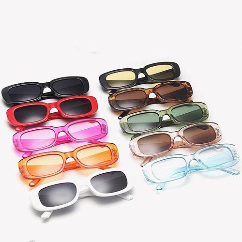 Vintage Black Square Sunglasses Women Luxury Brand Small Rectangle Sun Glasses Female Gradient Clear Mirror UV400 Oculos De Sol