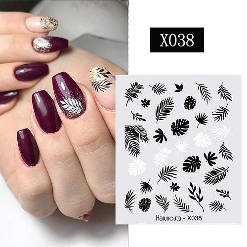 Harunouta Spring Water Decals Black Leaves Flower Transfer Stickers Green Simple Theme DIY Slider Manicures Nail Art Watermark