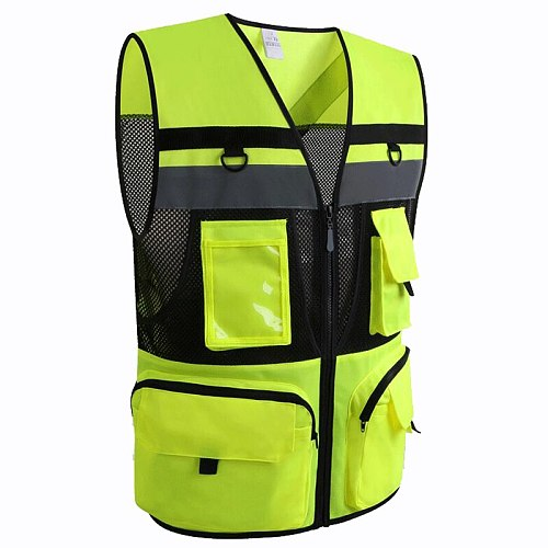 Automobile Motorcycle Reflective Safety Vest Yellow High Visibility Night Warning Safety Coat for Traffic Car Summer Mesh Vest