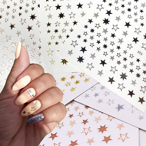 3D nail stickers black gold silver glitter cute stars nail art decoration DIY transfer decals colorful nail art tips manicure
