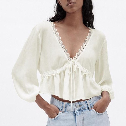 Fashion Spring Solid V Neck Lace Blouses Women Elegant Three Quarter Short Shirts Women Lace Up Folds Pullover Tops Ladies