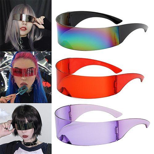 Party Glasses Visor Wrap Shield Large Mirror Sunglasses Riding Windproof Glasses Fashion Personality Glasses Riding Glasses