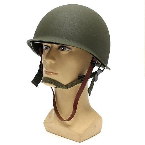 Protective Helmets Universal Portable Military Steel M1 Helmet Tactical Protective Army Equipment Field Green Helmet outdoor