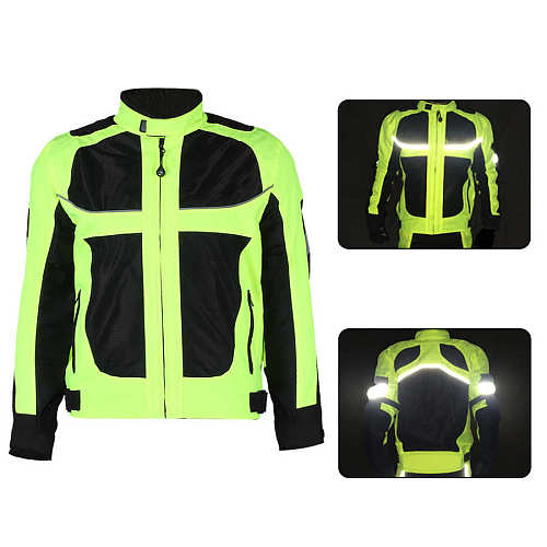 Men Motorcycle Riding Clothing Breathable Racing Reflective Clothes Full Protection for Summer Safety Motorcycle Suit Jackets