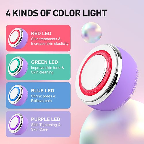 2 In 1 EMS LED Light Therapy Silicone Heating Face Cleanser Massage Facial Cleaning Brush Skin Scrubber Washing Brush Skin Care