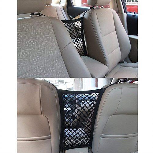 MICTUNING Car Universal Cargo Stowing Organizer Net Auto Rear Seat Trunk Back Seat Elastic String Single Layer Mesh Storage Bag