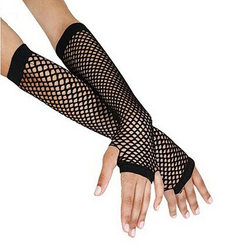 2021 Punk Goth Lady Disco Dance Costume Lace Fingerless Mesh Fishnet Gloves Motorcycle protection Black Cheap Wholesale