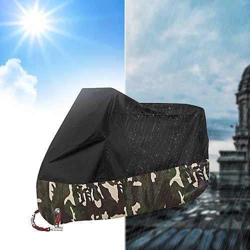 190T Motorcycle Cover All Season Protection Silver Coating Strong Toughness Anti-UV Waterproof Dustproof Cover With Storage Bag