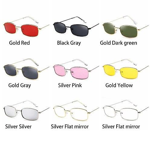 Unisex Metal Frame Rectangle Sunglasses Fashion Small Retro Shades UV400 Sun Glasses Eyewear for Men Women Goggles