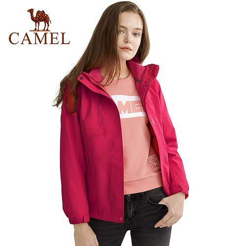 CAMEL Winter Men Women Thicken Jacket Outdoor Hiking Jacket Thermal Fleece Inner Waterproof Windbreaker Hiking Trekking Coat