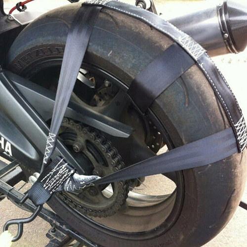 New Universal Black Motorcycle ATV Transportation Tie-Down Polyester Motorbike Rear Wheel Fixing Fastening Webbing Belt Strap