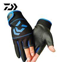 DAIWA 1 Pair Fishing Gloves Men Women Outdoor Fishing Anti-slip 3 Cut / Half Finger Outdoor Sports Fish Equipment Angling Gloves