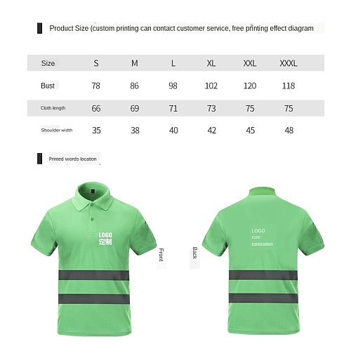 Reflective Speed Dry POLO Shirt T-shirt Construction Safety Clothing Short-sleeved Riding Advertising Workwear Reflective Vest
