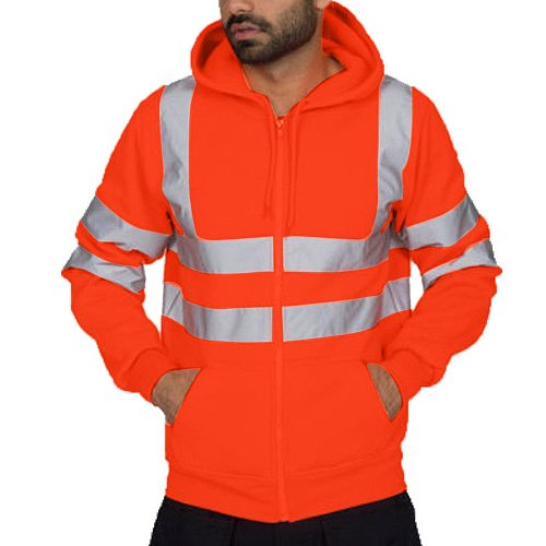 Men jacket Road Work Clothes High Visibility hooded outwear travel outdoor reflective stripe d90520