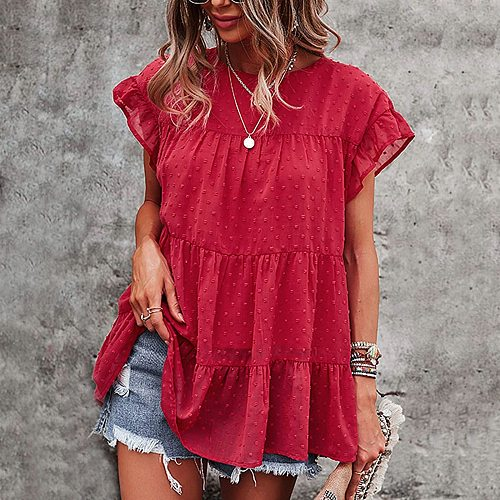 40# Loose Pleated Blouses Summer 2021 Elegant Solid Color Short Sleeve All-match Shirts Top O Neck Casual Blouses Haut Femme