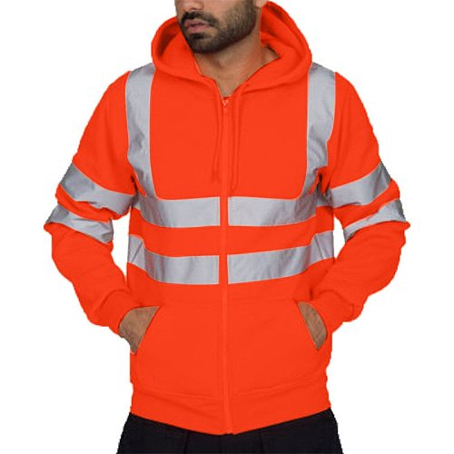 Mens Clothing Autumn Winter Casual High Visibility Jacket Reflective Tape Safety Security Work Coats and Jackets for Men